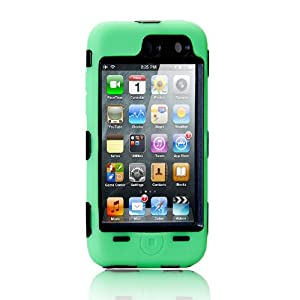 NTK Premium For iTouch iPod Touch 4 4G Silicone Case with Hard Shell Inside Case With Built In Touch Screen Protector Film 2 Layer Case -Green