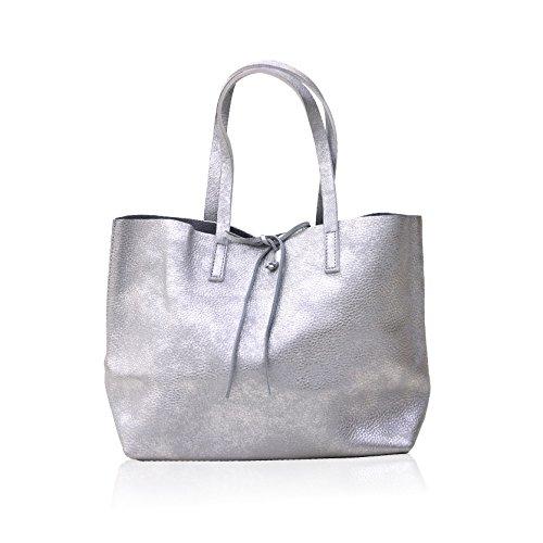(ラフィネズム)Raffinesm Mu:Colle Color Bag TYPE BM 本革 トートバッグ(シルバー)