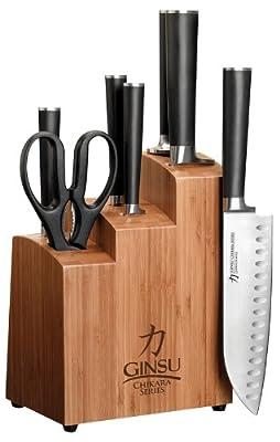 Ginsu Chikara Stainless Steel Knife Set with Bamboo Block