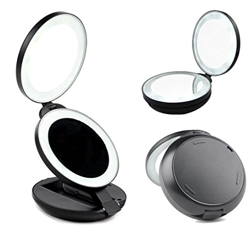 gotofine led lighted travel makeup mirror with 5x. Black Bedroom Furniture Sets. Home Design Ideas