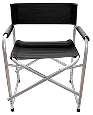 1 Chair Black Aluminium Directors Folding Chair With Arms Camping Fishing Garden