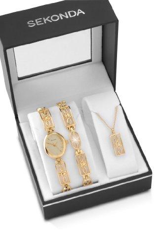 Sekonda Ladies Gold Plated Watch Stone Set Bracelet & Pendant Gift Set 4534G