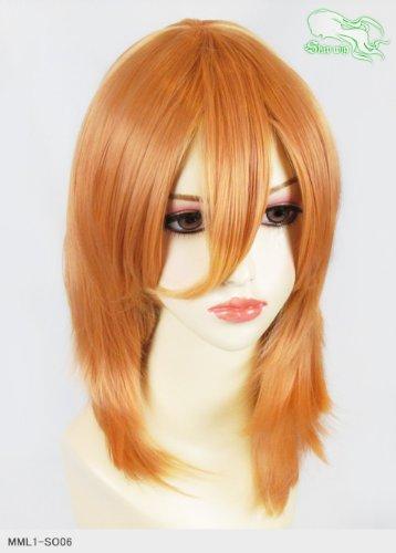 スキップウィッグ 魅せる シャープ 小顔に特化したコスプレアレンジウィッグ フェザーミディ アプリコット