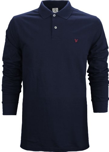Lyle & Scott Heritage Men's Long Sleeve Polo T-Shirt Navy Blue (XXL)