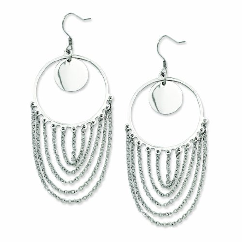 Genuine Chisel (TM) Earrings. Stainless Steel Hoop & Chain Dangle Earrings. 100% Satisfaction Guaranteed.