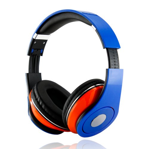 Gearonic Adjustable Circumaural 3.5Mm Over-Ear Stereo Headphone For Ipod Mp3, Mp4, Pc, Iphone Music - Non-Retail Packaging - Blue/Orange