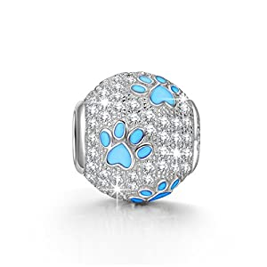 NinaQueen 925 Sterling Silver Puppy Dog Paw Animal Footprints Round Shape Design Cubic Zirconia Charms Fits Pandora Bracelets *Ideal Gift For your mother,wife,Girlfriend,daughter and friends on on Birthday, Anniversary, Valentines day, Thanksgiving Day and Christmas Day*