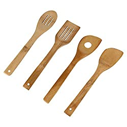 HOKIPO 4 Pc Bamboo Cooking Spoon Set - Non-Stick and Wall Hanging - Kitchen Utensils