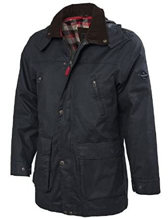 VEDONEIRE Mens Wax Jacket (3052) BLACK with hood (Small (chest 35-37 inches))