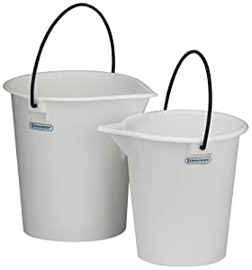 "Bel-Art Scienceware 168060000 Polyethylene Heavy-Duty Pail, 15L Capacity, 11"" Top ID x 13"" Height"