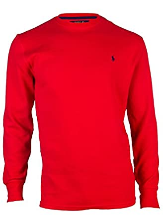 Polo Ralph Lauren Men's Long-sleeved T-shirt / Sleepwear (Medium, Red/Navy Blue Pony)