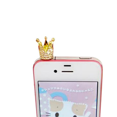 Change 3.5Mm Crystal Crown Anti Dust Earphone Jack Plug Dust Proof Cap For Iphone 4 4S 5 Gold