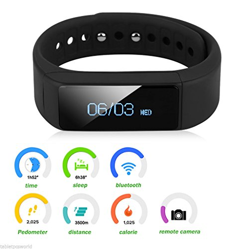 Trend United i5 Plus Bluetooth Smart Bracelet Smart Watch Sports Fitness Tracker For Smartphone Pedometer Tracking Calorie Health Sleep Monitor Free Fitness App for Android & IOS.