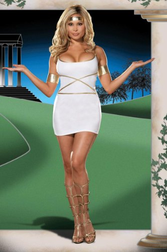Sexy Grecian Goddess Costume White Mini Dress Gold Athena Aphrodite