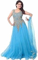 RK Fab Women's net ethnic gown(Sky Blue)