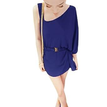 Allegra K Woman Tiered Dipped Hem Semi Sheer Irregular Sleeve Belt Summer Dress