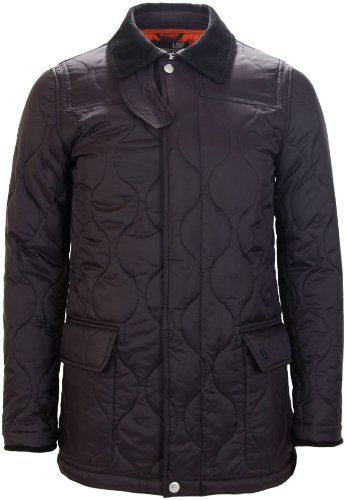 Moschino Men's Corduroy Collar Quilted Jacket Navy Blue (Large)