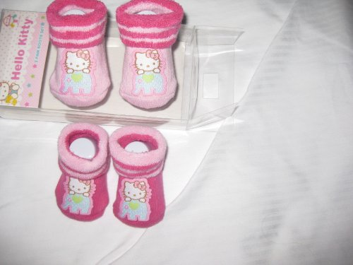 Hello Kitty Baby 2 Pair Crib Shoes / Booties / Socks Infant 0-12 Mos Pink