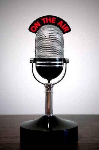 Content Wall Decals Retro Microphone With An 'On The Air' Illuminated Sign On A Desk - 24 Inches X 16 Inches - Peel And Stick Removable Graphic