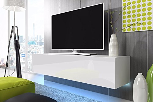 TV-Schrank-Lowboard-Hngeboard-SIMPLE-mit-LED-Blau-Wei-Matt-Wei-Hochglanz-100-cm