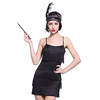 deguisement costume tenue robe a frange bandeau flume porte cigarette annee 20 1920 charleston. Black Bedroom Furniture Sets. Home Design Ideas