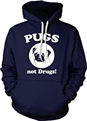 Pugs Not Drugs Hoodie - Funny Dog Sweatshirt For Animal Lovers (Navy) from Crazy Dog Tshirts