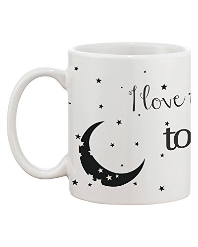 I Love You to the Moon and Back Couple Mugs - His and Hers Matching Coffee Mug Cup Set - Perfect Wedding, Engagement, Anniversary, and Valentines Day Gift for Newlyweds