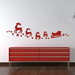 Santa?s Sleigh Wall Sticker Christmas Wall Decal Art available in 5 Sizes and 25 colors X-Large Moss Green