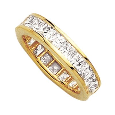 18K Gold Plated Clear Cubic Zirconia Eternity Wedding Band Ring - Size 10