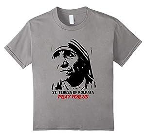 Kids Mother Saint Teresa Shirt - Portrait Pray Shirt 8 Slate