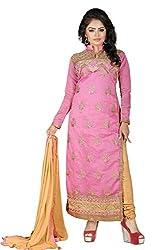 JHEENU Pink Women's Chanderi unstitched Straight Salwar Suit dress material
