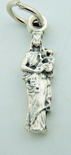 Mini Charm Bracelet Catholic Petite Medal Silver Gild Our Lady of Mt. Carmel