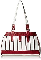 Fantosy Women's Handbag (White and Maroon) (FNB-401)