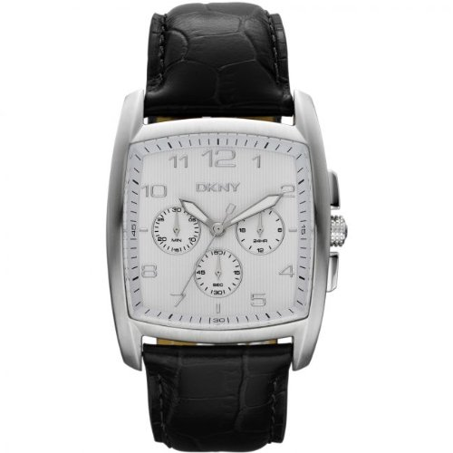 DKNY Men's NY1496 Black Calf Skin Quartz Watch with White Dial
