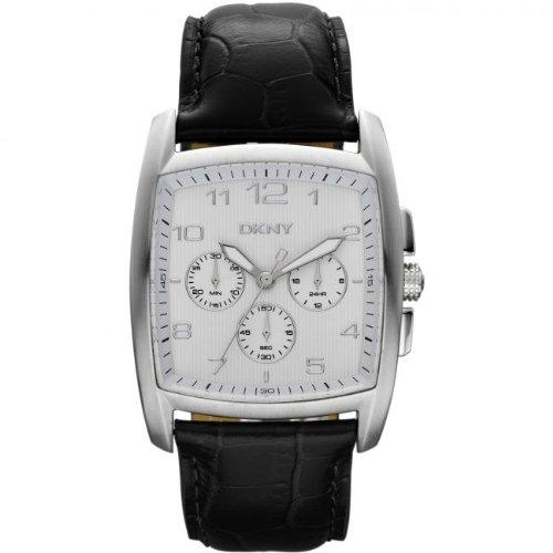 DKNY Men's NY1496 Black Calf Skin Quartz Watch with White Dial