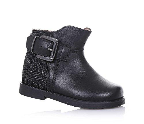 CIAO BIMBI - Tronchetto nero in pelle, curato in ogni dettaglio, con chiusura a zip laterale, fibbia decorativa, cuciture a vista, Bambina-24