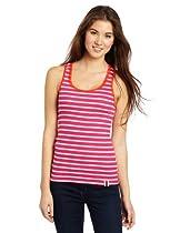 Southpole Juniors Stripe Fashion Racerback Tank Top with Contrast Color Lace Trim, Rose, Large