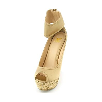 Shiekh Womens Ruby Casual Wedge - Champagne Satin Size 5.5