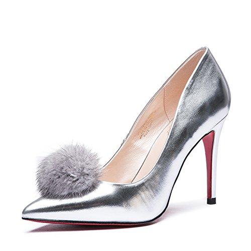 Signora tacchi alti in primavera/Punta a spillo argento scarpe asakuchi coniglio fashion-A Lunghezza piede=23.8CM(9.4Inch)