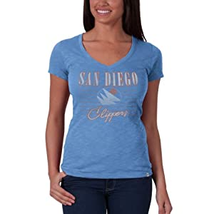 NBA San Diego Clippers V-Neck Scrum Tee, Light Blue by