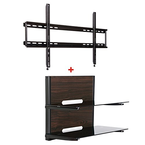 fitueyes av shelf with tv wall mount for up to 65 inch tvs. Black Bedroom Furniture Sets. Home Design Ideas