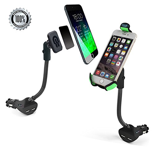 iMustech 3-in-1 Car USB Charger + Car Charger Cigarette + Magnetic Phone Holder, Car Cell Phone Mount with 2 USB Charging Port, 360° Degree Rotating Holder for Iphone5s,6,6 Plus and Other Smartphones