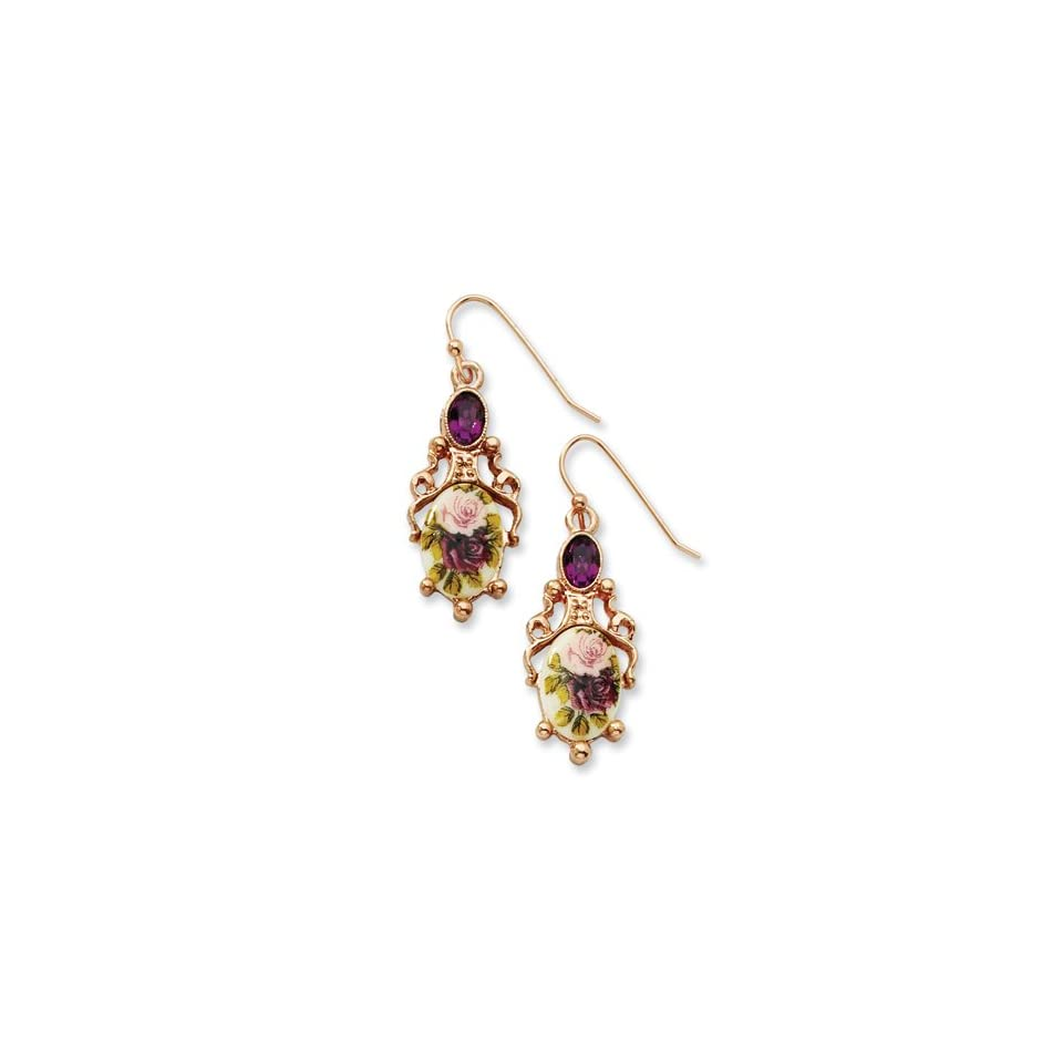 Rose tone Dark Purple Crystal/Floral Decal Drop Earrings Real Goldia Designer Perfect Jewelry Gift