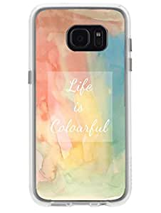 Samsun S7 Edge Cover - Colourful Life - Designer Printed Hard Case with Transparent Sides