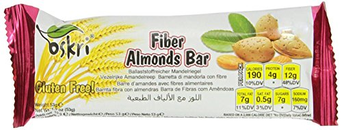 Oskri Fiber Bar, Almonds, 1.9-Ounce (Pack Of 20)