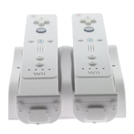 GTMax Wii Electroflow LED Dual Inductive Charge + 2 Rechargeable Batteries for Nintendo Wii Remote Controller - Charges Through Sleeves and with MotionPlus On or Off!