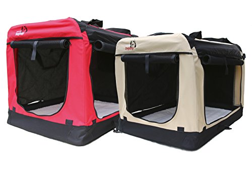Hundetransportbox-faltbar-Transportbox-fr-Hunde-Dogi-Kennel-beige-Gre-XXL