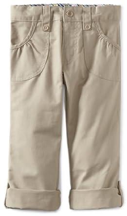U.S. Polo Association School Uniform Little Girls'  Twill Roll-Up Pant, Khaki, 4
