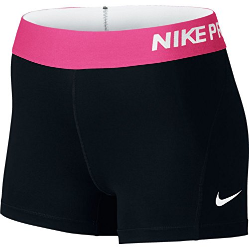 "Women's Nike Pro Cool 3"" Short Black/Vivid Pink/White Size Small"