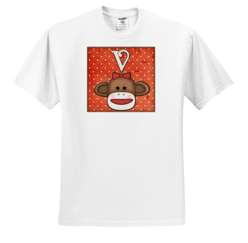 Dooni Designs Monogram Initial Designs - Cute Sock Monkey Girl Initial Letter V - T-Shirts